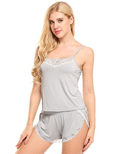 Ekouaer Women Pajamas Sexy Short Sets Lace Camisole Lingerie Sleepwear (Grey, L) by Ekouaer (Image #2)