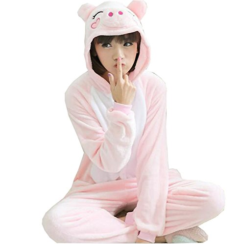 [HSDJ Unisex-adult Kigurumi Onesie Pink Pig Pajamas M] (Sully From Monsters Inc Costume)