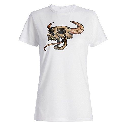 Arte del vintage de la novedad del demonio del diablo del cráneo camiseta de las mujeres n24f