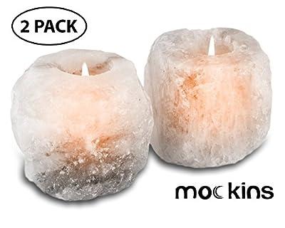 mockins Natural Himalayan White Salt 2.5-lbs Tea Light Holder 2 Pack - Holiday Gift …