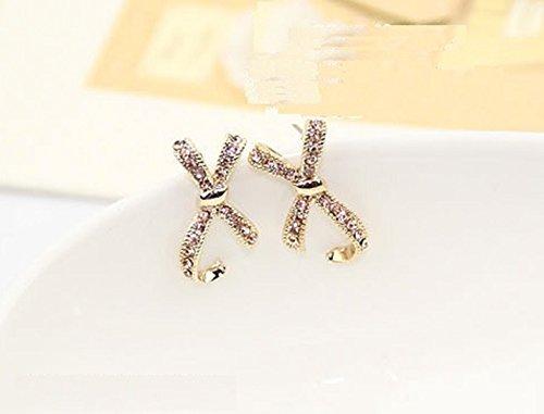 CJB Elegant Gold Color Cross Bow Rhinestone Earrings Studs