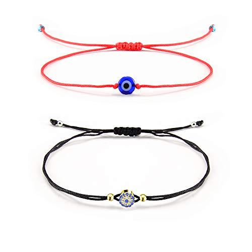 Shonyin Evil Eye Red Hamsa Bracelet Lucky Protection String Kabbalah Ojo Turco Bracelet for Women Men Family Friend 2pcs