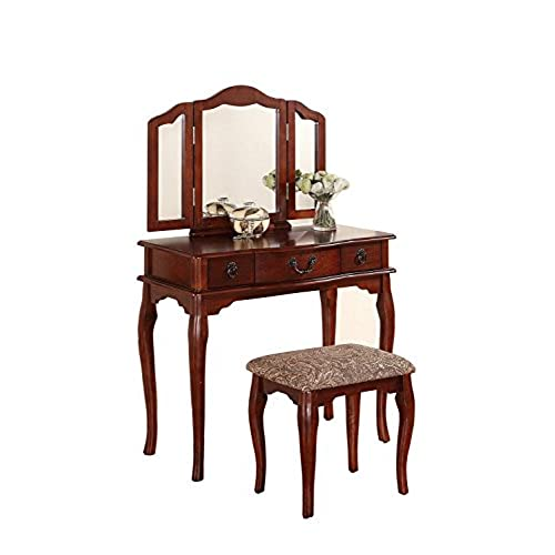 Poundex Bobkona Susana Tri-fold Mirror Vanity Table with Stool Set, Cherry - Antique Vanity With Mirror: Amazon.com