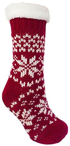 Chausson De Et Chunky Rouge Signore En Chaussettes Knit Sherpa Pince À Doux Fodera O g4x0Ixq