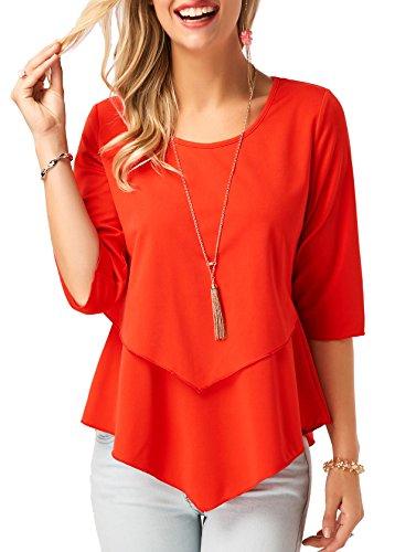 BETTE BOUTIK Women's Half Sleeves Plain Flowy Shirts Ruffles Hem Tunic Tops Blouses