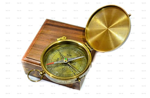 Sailor's Art Brass Compass Antique Look E. E. Cummings Complete I Carry Your Heart Poem Engraved with Wooden Box 3