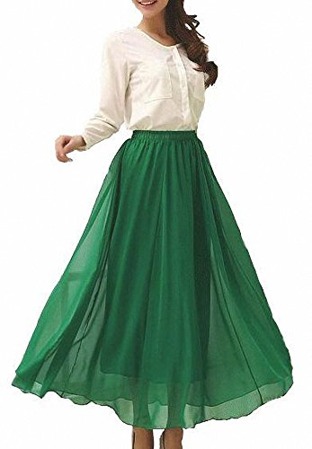 Afibi Womens Chiffon Retro Long Maxi Skirt Vintage Dress (Medium, ()