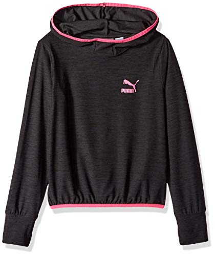 PUMA Big Girls' Cropped Hoodie, Ebony Heather -