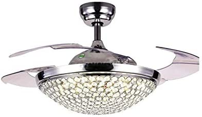 42″ Crystal Ceiling Fan Chandelier Retractable Blade Ceiling Fan