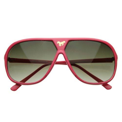 Large Retro Stunner Plastic Aviator Sunglasses w/Mustang Horse Logo ()