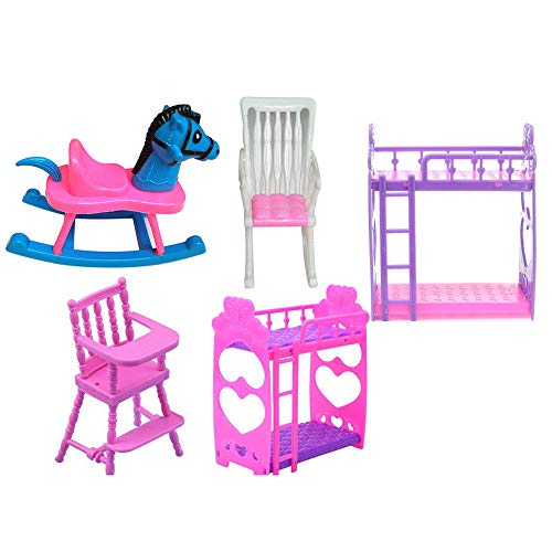 wintefei 1 Set DIY Kids Girl Play House Doll Bunk Bed Baby Chair Dollhouse Doll Room Toy Set Gift
