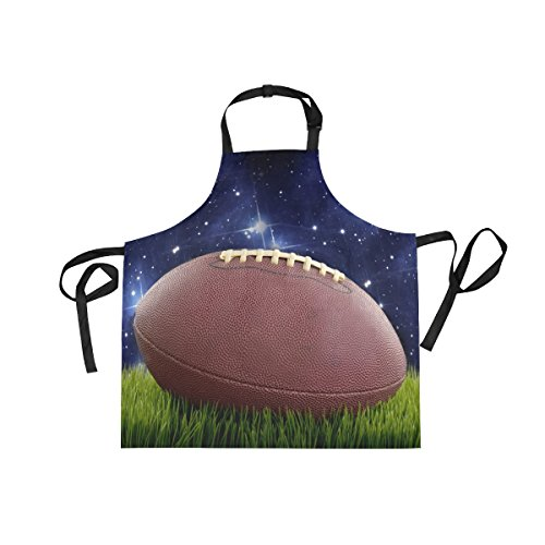 XiangHeFu Bib Aprons with 2 Pockets Football On Green Turf And Stars 27.5 x 29 Inch Adjustable Neck Strap for Men Women Cooking Baking Chef (Football Star Bib)
