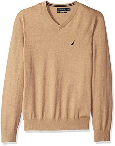Brown Sweater Heather - Nautica Men's Long Sleeve Solid Classic V-Neck Sweater, Coastal Camel Heather, Small