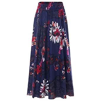 Chartou Womens Boho Elastic Waist Maxi Ankle Length Maxi Long Cotton Linen Floral Skirt - Navy - One Size