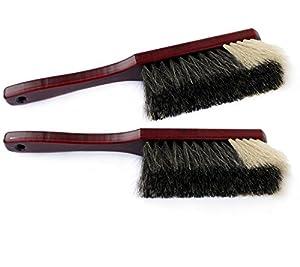 2 Stk. Handfeger Holz, Mahagoni lackiert, echtes Roßhaar weißer Bart...