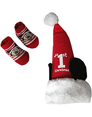 Mickey Mouse Baby-Boys Christmas Cap and One Pair Socks Set [5013]