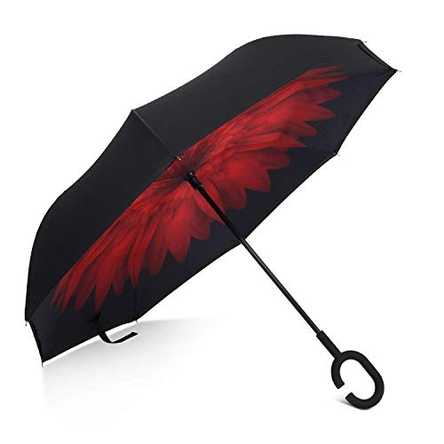 Techcell Double Layer Inverted Umbrella Cars Reverse Umbrella,Windproof UV Protection Big Straight Umbrella for Car Rain Outdoor With C-Shaped Handle Travel Umbrella by (Red (Best California Umbrella Cnas)