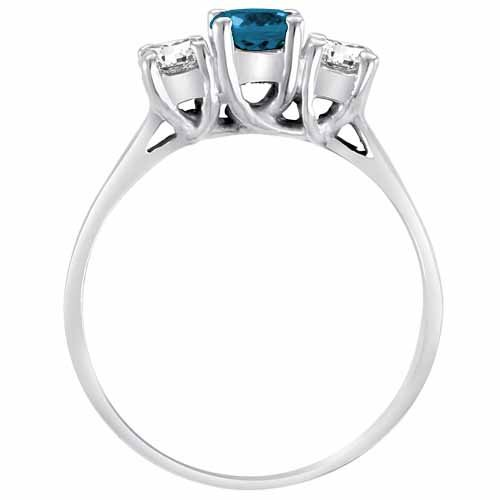 14K White Gold Round 3 Stone Blue Diamond and White Diamond Ring (1 cttw) – Size 6