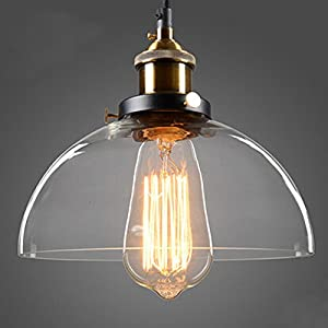 WINSOON 11.5 X 13 Inch Half-Globe Vintage Industrial Ceiling Lamp Clear Glass pendant lighting for kitchen island Loft Shade Fixture