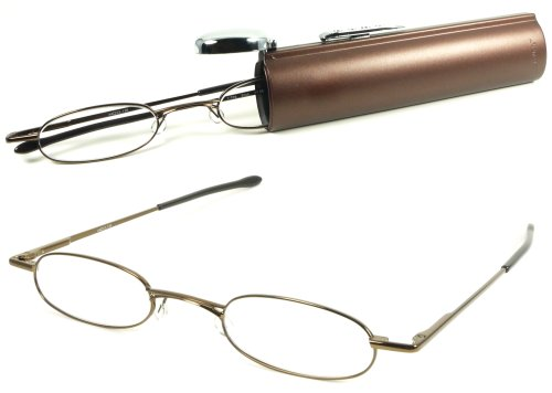 Tube Reading Glasses - I-Mag Oval Metal Reading Glasses with Easy Push Button Hard Tube Case (+1.50, Brown)