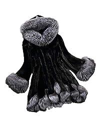 WHZZ Women Long Sleeve Winter Jacket Parka Outwear Hooded Faux Fox Fur Coat Plus Size
