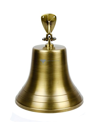 Solid Antique Brass Brushed Finished Polished Premium Nautical Boat's Bell | Maritime Navy Ship's Decor & Gifts | Nagina International ... (15 Inches, Antique Brushed Brass)