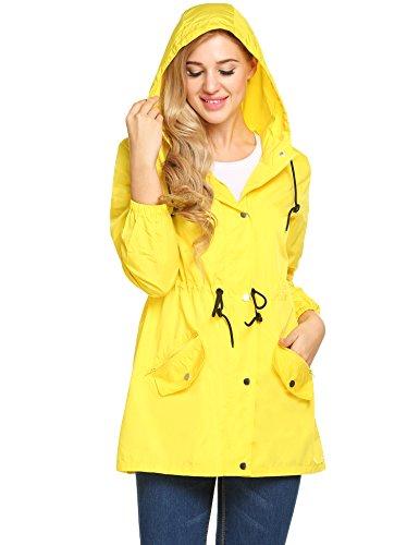 (UNibelle Women Raincoat Lightweight Hooded Rain Jacket Outdoor Active Windbreaker Waterproof Trench Coats)