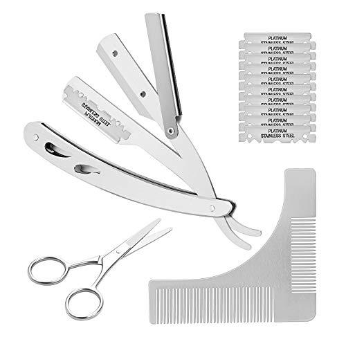 (Straight Razor, CUGLB Beard Shaving Tools Including Stainless Steel Straight Edge Barber Razor(with10 pcs Blades) & Shaping Template Comb & Scissors)