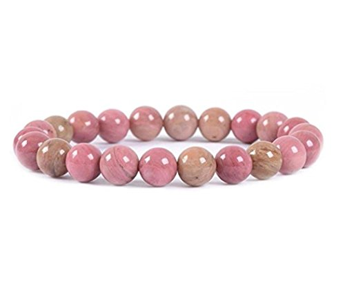 Natural Pink Rhodonite Gemstone Bracelet 7.5 inch Stretchy Chakra Gems Stones Healing Crystal Great Gifts GB8B-5 ()