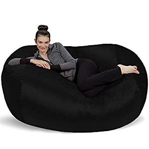 Sofa Sack - Bean Bags 6-Feet Bean Bag Lounger, Large, Black