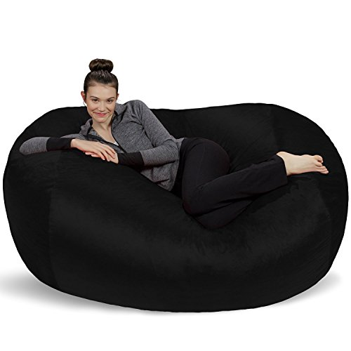 Sofa Sack - Plush Bean Bag Sofas with Super Soft Microsuede Cover - XL Memory Foam Stuffed Lounger Chairs for Kids, Adults, Couples - Jumbo Bean Bag Chair Furniture - Black 6