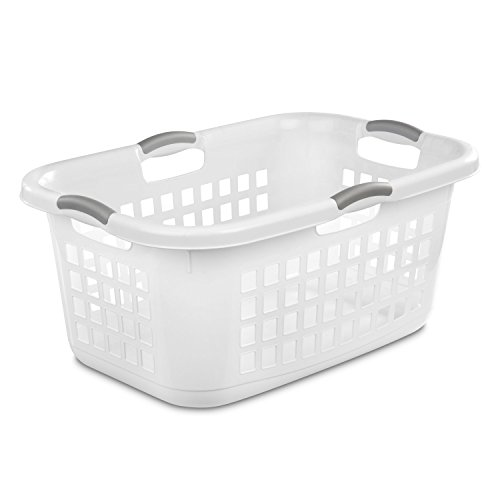 White laundry basket with Titanium handles.