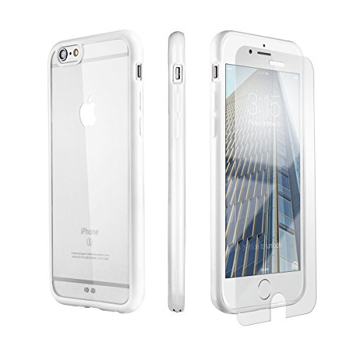 iPhone 6 Case, iPhone 6s Case PowerMoxie with Tempered Glass Screen Protector Slim Fit Protection TPU+PC case with Laser Carving Rubberized Corners Cover for iPhone 6/6s - White Clear