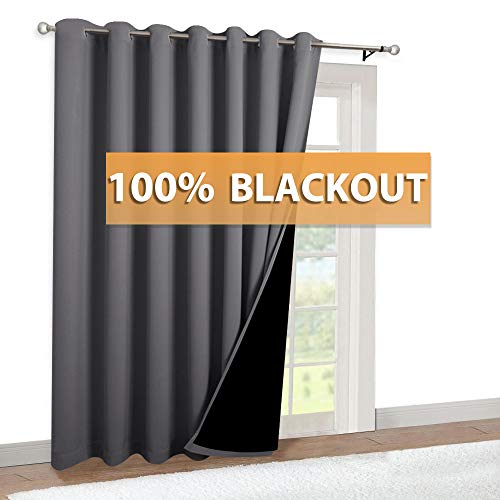 RYB HOME Extra Wide Curtain - 100% Blackout Draperies 2 Layers with Black Liner for Patio Sliding Glass Door Farmhouse Cabin Bedroom Living Room Dining, 100 inch Wide x 84 inches Long, Grey, 1 Panel (Doors For Draperies Patio)