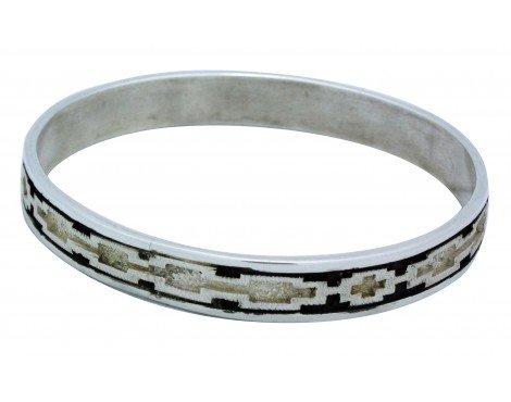 Dan Jackson, Bangle, Sterling Silver, Overlay, Textured, Navajo Handmade, 7.5 - Overlay Navajo Sterling Silver