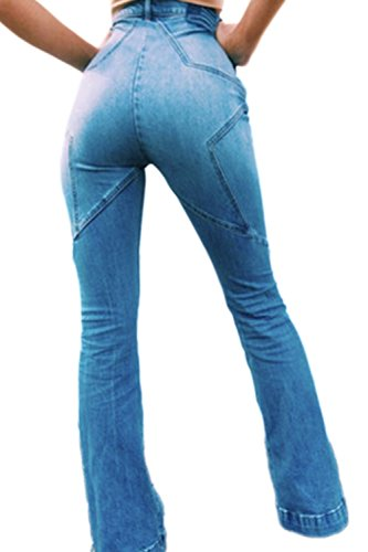 Casual Patchwork Alta La Cintura Skinny Jeans Mujer Blue Length Full UnOnRqSg5