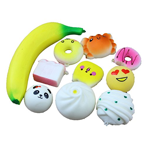 10 Pack Set Slow Rising Squishies Jumbo,Slow Rising Soft Squishy Squeeze Charms Toy for Stress Relief and Time Killing Soft Squishy Charms Toy for Stress Relief