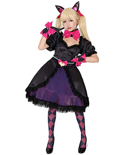 Miccostumes Women's Dva Black Cat Skin Cosplay Costume Dress with Petticoat (L) ()