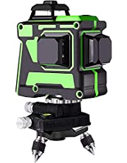 360° Laser Level, 12 Line Mini 3D Leveler 3D Laser Level, Switchable Horizontal and Vertical Green Beam Laser, with Base + Battery + Storage Bag