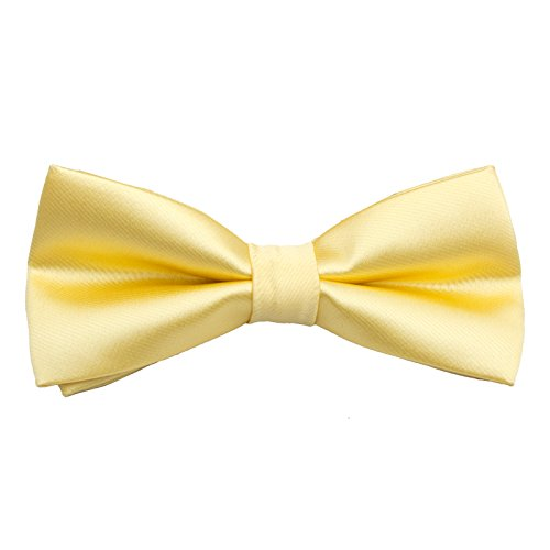 Men's Pre Tied Bow Ties for Wedding Party Fancy Plain Adjustable Bowties Necktie (Silk-Yellow) (Yellow Silk Bow Tie)