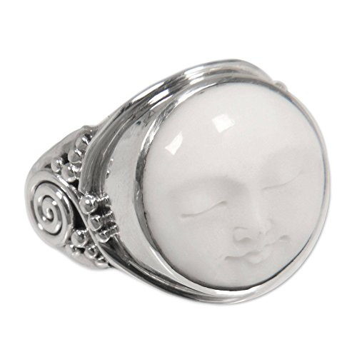e5e36d99b NOVICA .925 Sterling Silver Handcrafted Cow Bone Cocktail Ring 'Face of the  Moon'