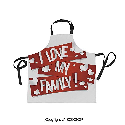 SCOCICI Unisex Waterproof and Dirty Resistant Printing Kitchen Apron,Red Banners with Family Love Message and White Hearts Passionate Illustration,for Cooking Baking Gardening