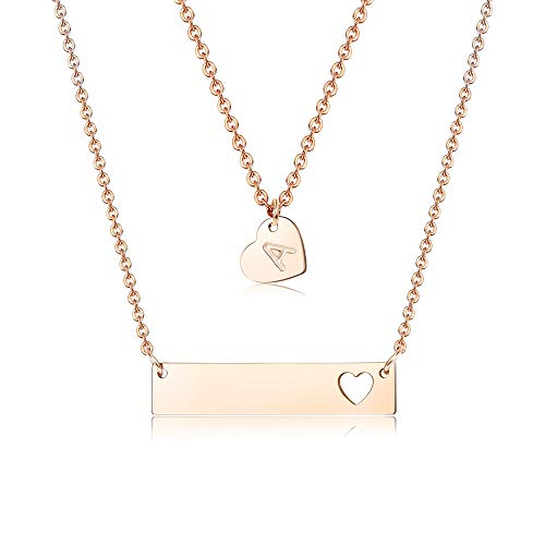 (Finrezio Rose Gold Plated Stainless Steel Initial Heart Bar and Letter Pendant Necklace for Women Mother Multilayer Necklace Jewelry)