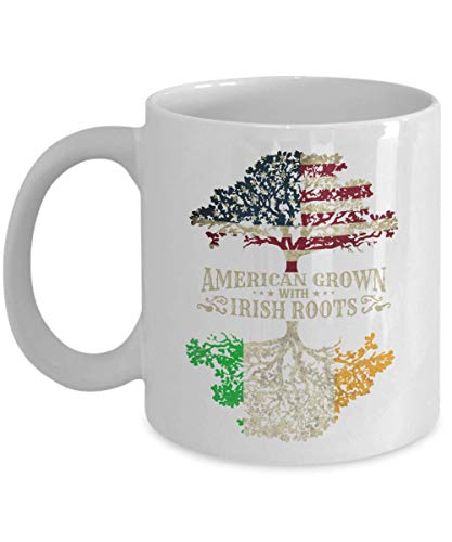 (American Grown With Irish Roots Flag Of America & Ireland Tree Art Coffee & Tea Gift Mug Cup, Home Décor, Kitchen Table Accessories, St. Patrick's Day Gifts, Party Decorations &)