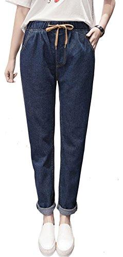 Plaid&Plain Women's Fleece Lined/No Fleece Relaxed Fit Drawstring Elastic Waist Jeans Blue (Girls Fleece Lined Jeans)