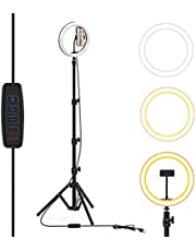 """10"""" Selfie Ring Light with Tripod Stand & Phone Holders, Dimmable Led Camera Ringlight for Live Streaming, YouTube, Video, Makeup, Photography, Compatible with iPhone Android (Upgraded)"""