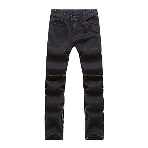 QincLing Herren Schwarz Biker Jeans Knie Riss Straight Slim Denim Hose