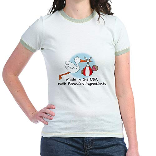 CafePress Stork Baby Peru USA Jr. Ringer T Shirt Jr. Ringer T-Shirt, Slim Fit 100% Cotton Ringed Shirt - Ringer Drinking Team T-shirt
