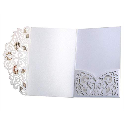 (OUOK 10PCS European Style Laser Cut Wedding Invitations Cards Tri-Fold Lace Business Invitation Cards Party Supply Invitation)