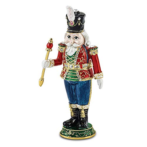 Jere Luxury Giftware Bejeweled Torsten Toy Soldier, Pewter with Enamel Collectible Trinket Box with Matching Pendant Necklace